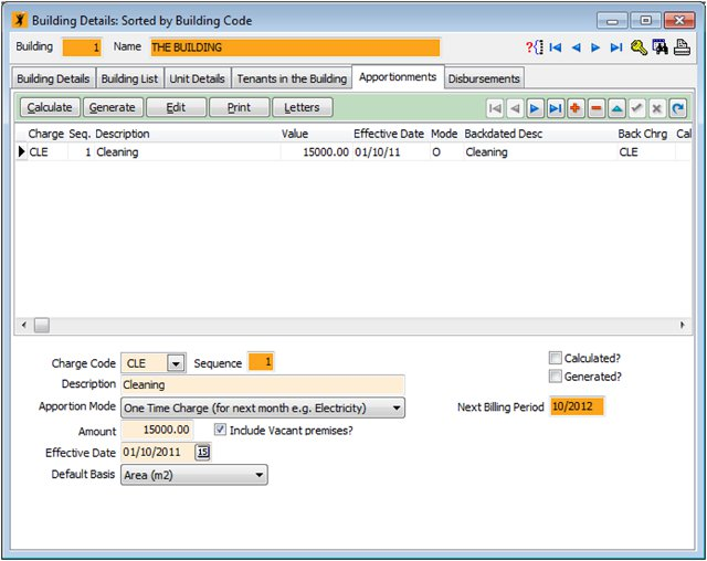 Apportioning Module for tenants